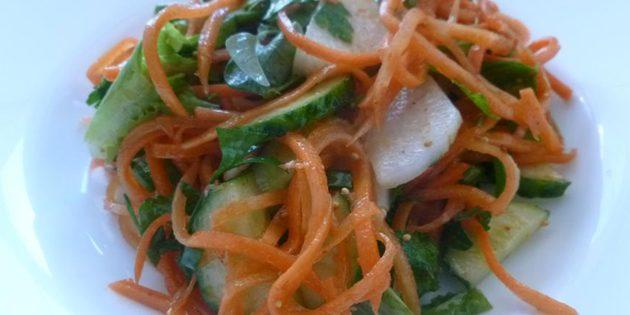 Салат с корейской морковью, огурцом и редькой