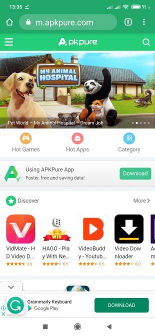 Скачать с Google Play: откройте APK Pure