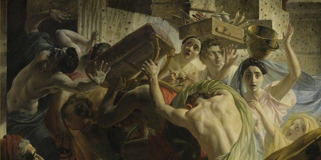 Вопрос из шоу «Слабое звено»: на какой картине К. П. Брюллов изобразил себя с ящиком кистей и красок на голове?